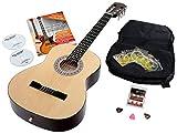 Calida Benita 3/4 Konzertgitarre Set inkl. Zubehör - Gitarre inkl. Gitarrentasche mit Schultergurt & Notenfach - Gitarrenschule mit CD & DVD, Stimmpfeife, Plektren, Ersatzsaiten - Natur