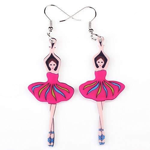 Pendientes AretesPendientes de niña de baile acrílico cuelga noticias primavera verano mujer figura moda rosa joyería accesorios diseño divertido