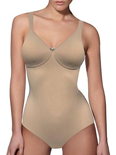 Lady Bella PA0785 Body Reductor para Mujer en Copas C - Faja Moldeadora sin Aros y sin Costuras - Body Interior de Microfibra Transpirable con Tirantes Anchos, Vientre Plano (Beige, 95C)