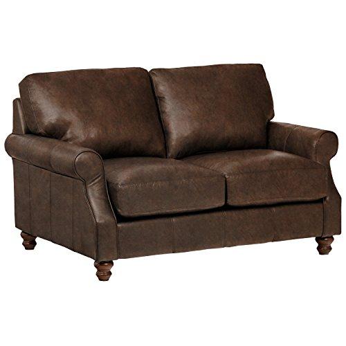 "Amazon Brand – Stone & Beam Charles Classic Oversized Leather Loveseat, 63""W, Sod"