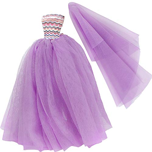 BJDBUS 11.5 inch Girl Doll Clothes Purple Trailing Lace Wedding Dress with Veil