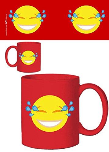 1art1 Emoticons, Emoji Lachender Smiley Mit Tränen In Den Augen Foto-Tasse Kaffeetasse (9x8 cm) Inklusive 1x Überraschungs-Sticker