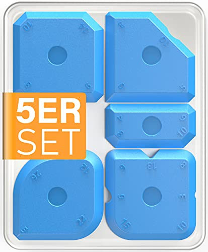 STONE REEF Silikon Fugenglätter Profi - [5 Stk. inkl. Aufbewahrungsbox] - Silikon abzieher, fugenspachtel, silikonabzieher fugenabzieher, fugenglätter silikon, silikonspachtel, silikonfugen abzieher