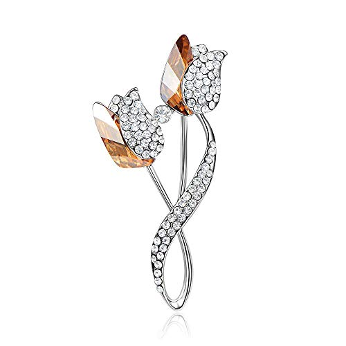Accesorios de Chaqueta de Mujer llenos de Diamantes de imitación champán espumoso Broche de Loto Doble de Cristal Austriaco