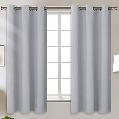 BGment Blackout Curtains for Living Room - Grommet Thermal Insulated Room Darkening Curtains for Bedroom, Set of 2 Panels (42 x 63 Inch, Light Grey)