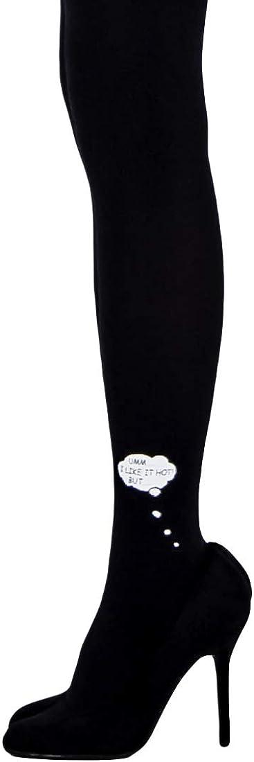 Unipop Legwear Patterned Fashion Tights For Women – Printed 80D Semi Opaque Pantyhose (Speech Bubble)