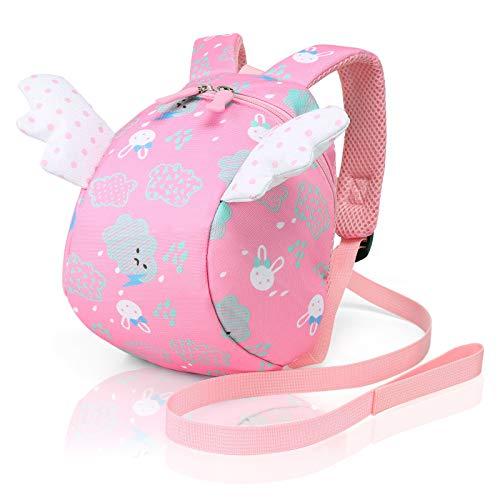 Cosyres Kinderrucksack Mädchen Kindergarten Mini Hase Baby Rucksack Anti Verloren mit Leine Rosa
