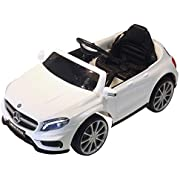 Qaba 6V Kids Licensed Ride On Car Toy Battery Powered High/Low Speed with Headlight Music and Remote Control White