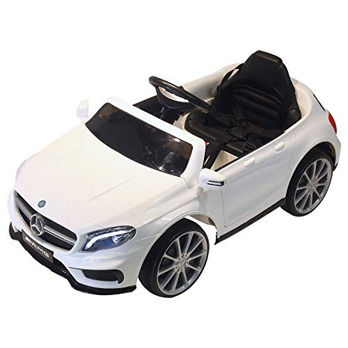 HOMCOM Coche Eléctrico para Niño 3-8 Años Automóviles Infantiles Mercedes Benz GLA con Mando a Distancia MP3 USB Carga 30kg 100x58x46cm Blanco