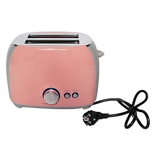 2 Toastros de acero inoxidable de la rebanada con la bandeja de migas removibles Tostador Plano (Color : Pink)