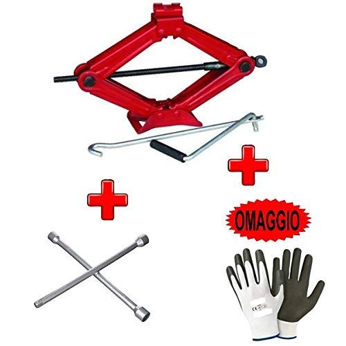 Kompatibel mit Seat Alhambra Wagenheber bis zu 2 Tonnen mit Stahlfuß und Drehschlüssel + Kreuzschlüssel zum Lösen von Schrauben