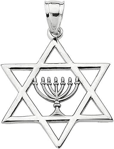 Joyería judía Estrella de David de oro blanco de 10 k con colgante de menorá