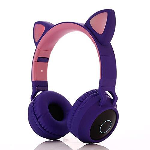 Mazu Homee Auriculares de juego, auriculares de orejas de gato, auriculares inalámbricos Bluetooth para juegos de estrés, auriculares para teléfono móvil de ordenador, aplicables a PC y PlayStation