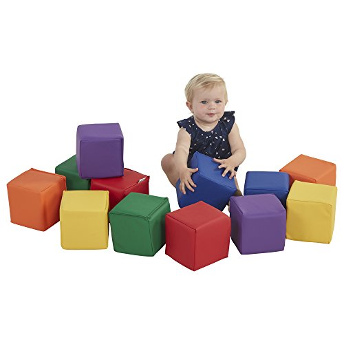 ECR4Kids-ELR-033 Patchwork Toddler Block Playset - Gentle Foam Blocks for Safe Active Play and Building, Primary Colors (12 Piece Set)
