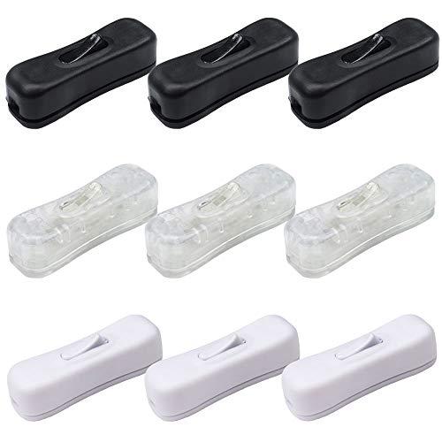 Gativs Schnurschalter 9 Stück Zwischenschalter Schnurzwischenschalter mit Wippe Lichtschalter Inline Schalter Lampenkabel Kabelschalter für 2 oder 3 Core Schnur Schwarz, Weiß, Transparent