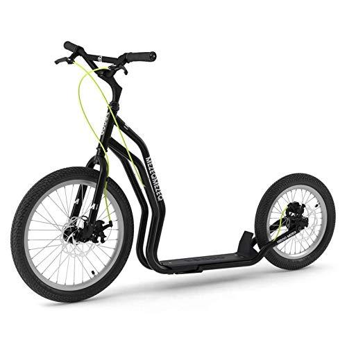 Yedoo MEZEQ DISC Black Modell 2018 mit Scheibenbremse # Roller Tretroller schwarz - Kickbike - mit Luftbereifung ab 150 cm - 178 cm Körpergröße bis 150 Kg Scooter kommt teilmontiert im Karton