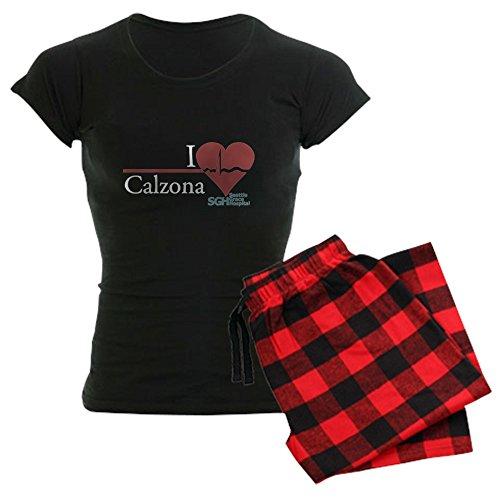 CafePress Damen Schlafanzug I Heart Calzona – Grey's Anatomy Gr. Medium, Mit roter Karo-Hose.