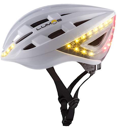 Lumos Kickstart bicicleta casco con intermitente, todas las estaciones, color blanco mate, tamaño 54-62 cm