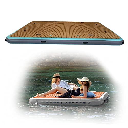 FYHpet Aufblasbarer See Float für Erwachsene Floating Island Dock Floß für Pool & Strand, dauerhafter Tropfenstich PVC Schwimmen Aufblasbare Floating Platform Air Doc