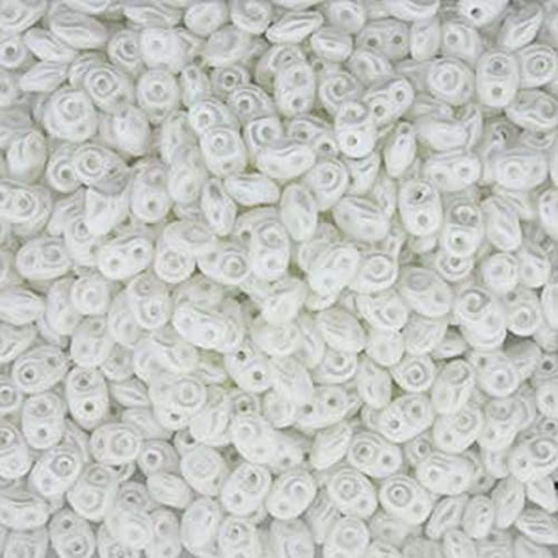 SuperDuo Pastel White 2.5x5mm 2 Hole Beads Czech Glass Seed Beads 100 Gram Bag