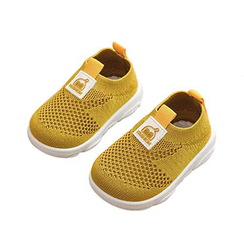 DEBAIJIA Zapatos para Niños 3-18M Bebé Caminan Zapatillas Cordones Transpirables Malla Ligera TPR-Materiale 17 18 EU Amarillo (Tamaño Etiqueta 16)