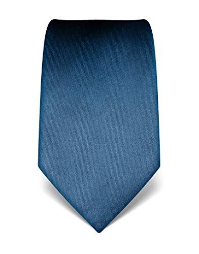 Vincenzo Boretti Herren Krawatte reine Seide uni einfarbig edel Männer-Design zum Hemd mit Anzug für Business Hochzeit 8 cm schmal/breit blau