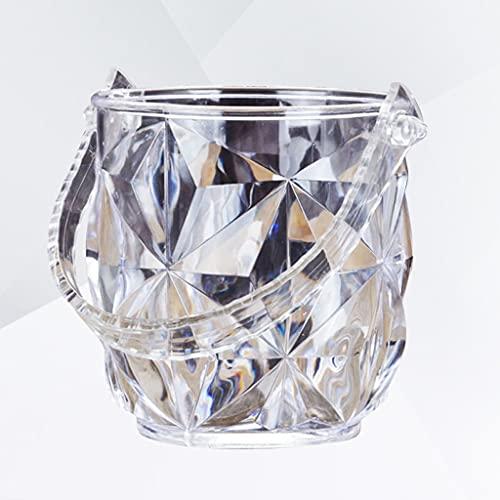 ECSWP JBJTBT Cubo de Hielo acrílico Redondo Contenedor de Hielo Transparente portátil con Conjunto de Pinzas de Hielo para Bar KTV (Grano de Diamante)