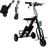 Folding Electric Bike Trike Light Weight Electric Scooter Tricycle With 36V 5AH 250W Lithium-Ion Battery for Adults, Button Switch 3 Gears, Rear Axle 23.6 Inch, for Mobility Assistance and Travel