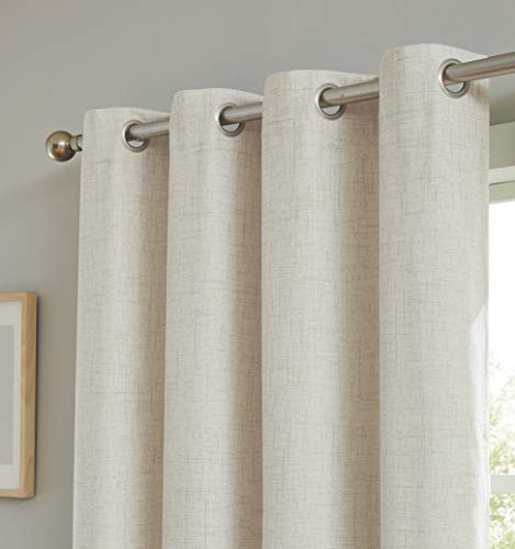 """Romantex 100% Blackout Window Curtain 84 inches Long Linen Texture for Bedroom,Thermal Insulated Beige Curtains Blackout Window Treatment Sets,52"""" Wx84 L,Natural"""