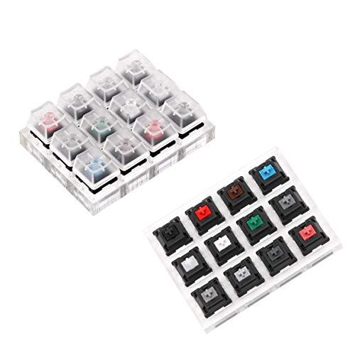 DULALA Tastaturen 12er Acryl Tastatur Tester Durchsichtiger Kunststoff-Tastenkappen-Sampler für Cherry MX-Switches
