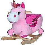 deuba unicorno a dondolo cavallo a dondolo cintura di sicurezza in legno morbido suono animali cavalcabili per bambini peluche a dondolo per bambini