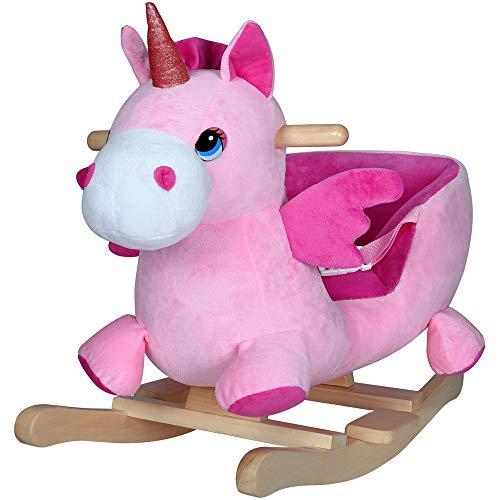 Deuba Balancín Mecedora Unicornio con Sonidos Soporte de Madera Asiento con cinturón de Seguridad Juego Rosado niños