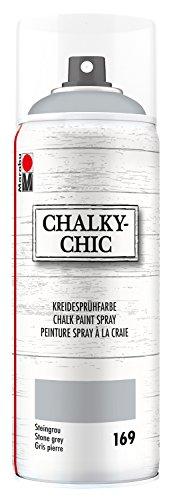 Marabu 02630018169 - Chalky Chic Spray, steingrau 400 ml, deckende, matte Kreidesprühfarbe auf Wasserbasis, für samtweiche Oberfläche auf Holz, Metall und Kunststoff, Used Look durch Anschleifen