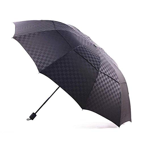 Xiaoyue Folding Umbrella Double-Layer-Gitter-Regenschirm Folding Rainy Große Automatische Regenschirme for Frauen Männer Uv Outdoor-Grid Umbrella-Black_As_Shown lalay (Color : Black, Size : As Shown)