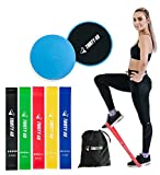 Thirty48 Gliding Discs Core Sliders and 5 Exercise Resistance Bands | Strength, Stability, and Crossfit Training for Home, Gym, Travel | User Guide & Carry Bag ((Resistance Bands + Core Slider(Blue)))
