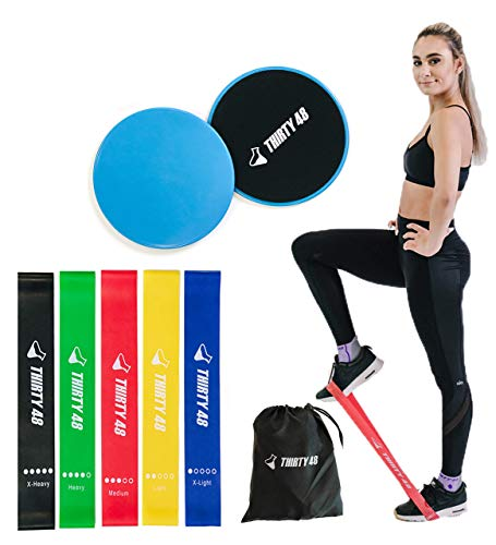 Thirty48 Gliding Discs Core Sliders and 5 Exercise Resistance Bands | Strength, Stability, and Crossfit Training for Home, Gym, Travel | User Guide & Carry Bag