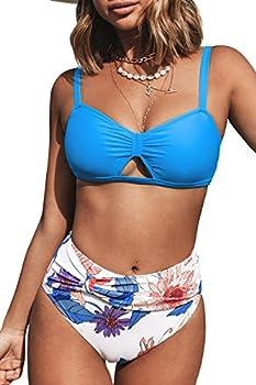 CUPSHE Women s High Waist Bikini Swimsuit Floral Knot Cutout Two Piece Bathing Suit Blue M