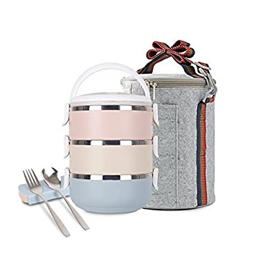 Unichart Stainless Steel Square Lunch Box Insulated Lunch Bag Lock Container Bag Spoon and Fork Set Food Storage Boxes for work and school (3-Tier) (round lunch box set)