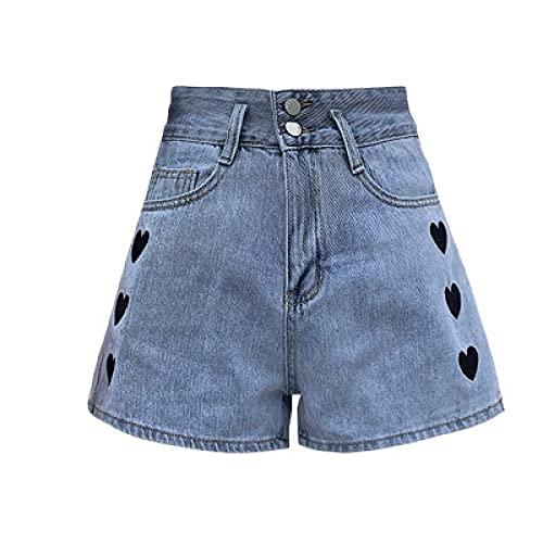 Zestion Pantalones Cortos de Mezclilla Bordados a la Moda con Personalidad para Mujer, Pantalones Cortos Rectos Sueltos con Botones y Botones básicos clásicos de Cintura Alta Small