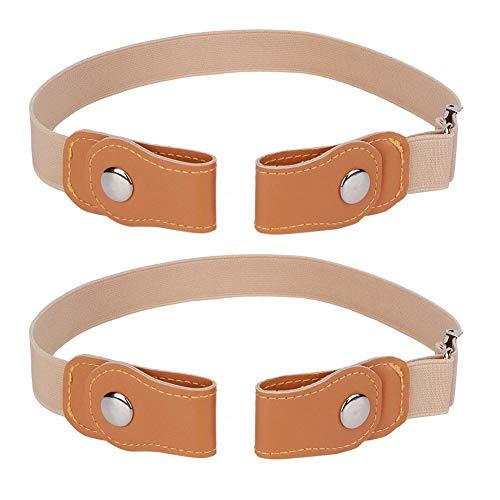2 cinturones para niños, imitación de cuero, cinturón unisex, cinturón elástico ajustable para adultos, sin hebilla, cinturón ligero de color caqui transpirable (39,37 pulgadas)(100cm-Caqui)