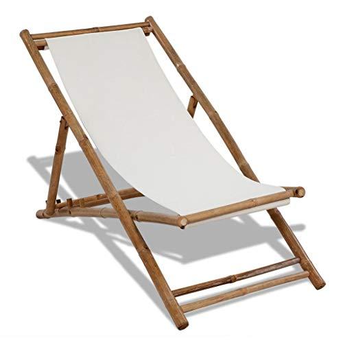 vidaXL Chaise de Terrasse Bambou et Toile Chaise de Jardin Table d'Extérieur