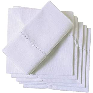 ORGANIC COTTON NAPKINS, Set of 6 White (20 x 20 inch), Cotton DINNER Cloth Napkins for Dinner, Events, Weddings, Tailored with Hemstitched Mitered corners and a generous hem:Hashflur