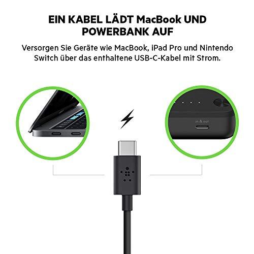 Belkin Boost Charge Powerbank USB-C 20K + USB-C-Kabel (20 100 mAh USB Power Delivery für MacBook, iPad Pro, Surface Pro, Nintendo Switch, iPhone und iPad)