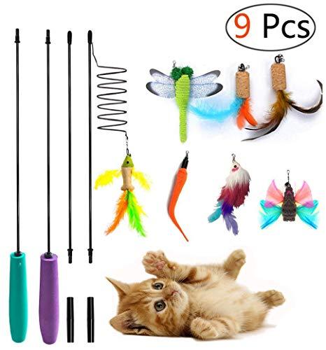 Umiwe 9 PCS Gatto Giocattolo Piuma, 2 Cat Interattivo Bacchetta Rod & 7 Ricariche Piume,Perfetto Teaser per l'esercitazione Gattino e Gatti (9 PCS)