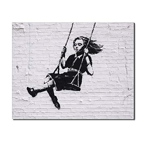 DMPro Pintura En Lienzo Poco Encantadora Chica Columpio Poster Impresiones Banksy Graffiti Pared Arte Cuadros para Salon Habitación Hogar Decoracion 60x80cm / Sin Marco