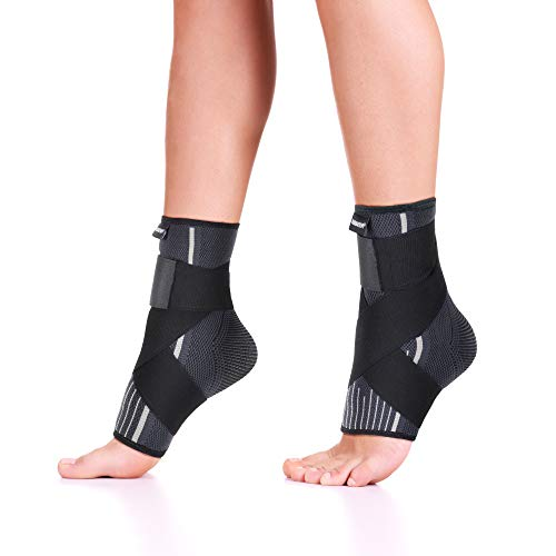 Premium Ankle Compression Socks Men & Women   Best Free Size Medical Ankle Support Pair(2 Pcs) With Compression Wrap Support For Improved Injury Prevention and Recovery - Bonus Kinesiology Tape & Carr