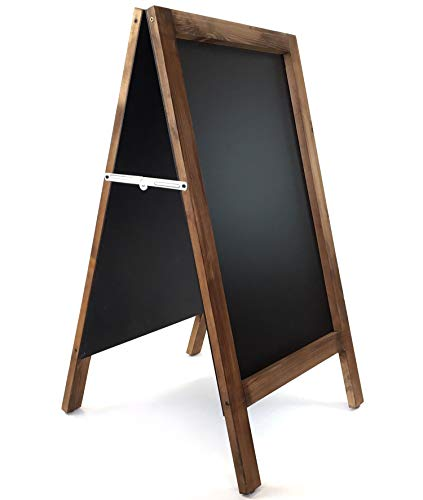 Pizarra caballete marco madera . Pizarra negra doble cara apta para tizas y rotuladores efecto tiza. Ideal para hostelería, infantil, restaurante, habitación niños, etc. (NOGAL, 120 x 60 cm)