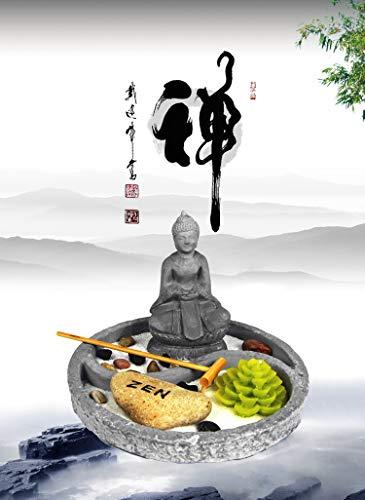 OM HOME Jardin Zen Figura Buda en Bandeja Redonda,con portavela en Forma de Flor de Loto, Roca y Arena decoración con Embalaje Mejorado