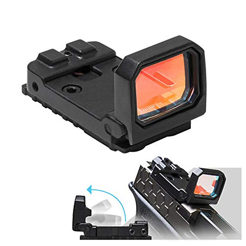 FSYH Tactical Flip Red Dot Reflex Sight - 3 MOA Mini Pistol Sight with RMR Mount and 20mm Rail for Glock MOS Pistol (Blac)