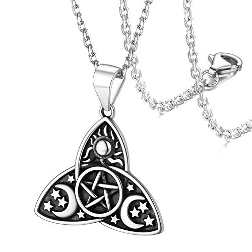FaithHeart Norse Viking Pentacle Cresent Moon Necklace Women Sterling Silver Vintage Celtic Knot Pendant Jewelry-Silver